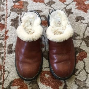 Brown Leather Shearling Mules